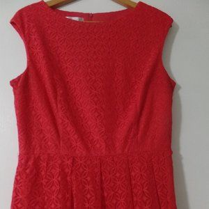 London Times Red Lace Fit and Flare Dress